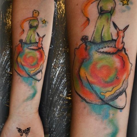 Barevné tetování na motivy knihy Malý princ