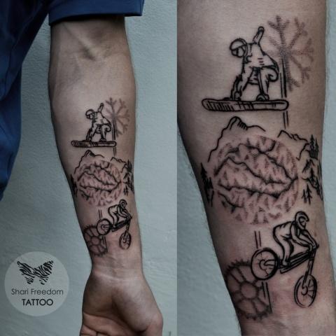 Tetování stylem dotwork snowboard a downhill cyklistika