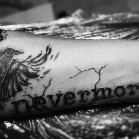tattoo edgar allan poe raven nevermore dotwork